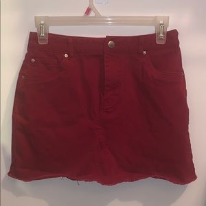 Red jean skirt from Forever21